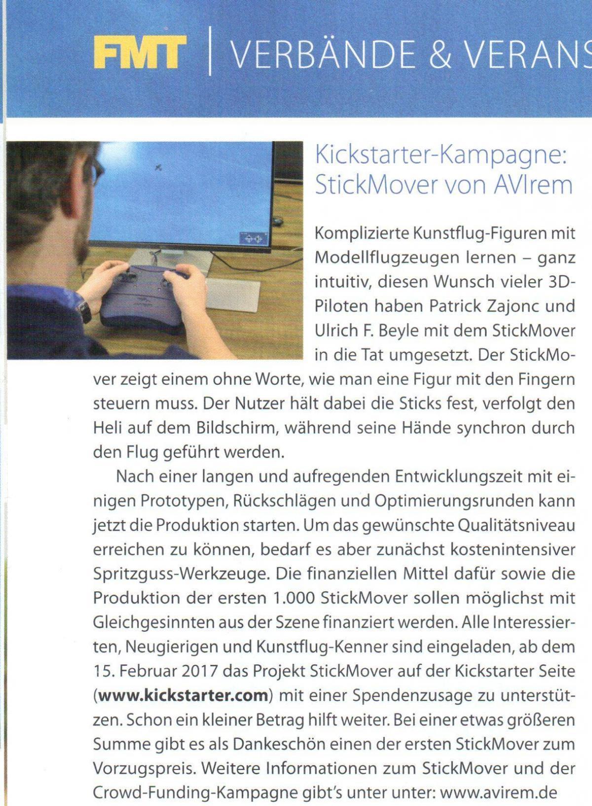 PR Artikel über den StickMover